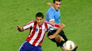 Cecilio Dominguez battles for the ball