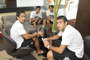 Olimpia players in the hotel in Barquisimeto - Photo: ABC Color